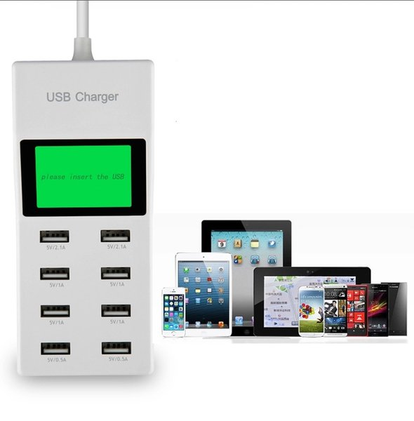 best selling Universal 8 USB Port Display Screen US EU UK Plug Travel AC Power Adapter Socket Smart Wall Charger For Cell Phone Tablet Camera