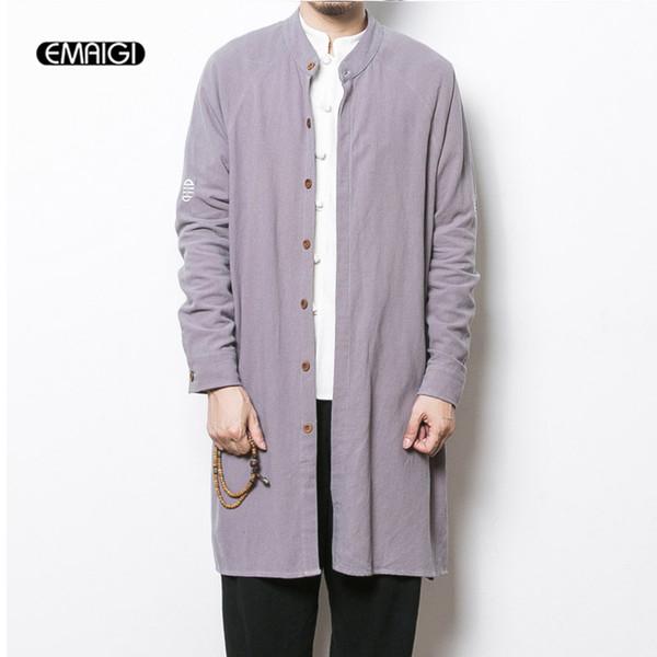 Atacado- 2017 primavera nova mens trench coat china estilo dos homens de linho de algodão longo cardigan outono masculino casual de linho solto trench jacket