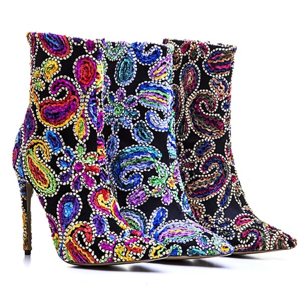Women New Ankle Short Boots Multi Color Stiletto Heels 12cm Heels Dress Wommen Cat Show Motorycycle Boots Size 43 Big SIZE Mujer Zapatos