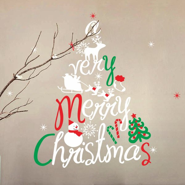 large size christmas snowman merry christmas tree backdrop living room bedroom stickers removable waterproof home decor - Merry Christmas Stickers