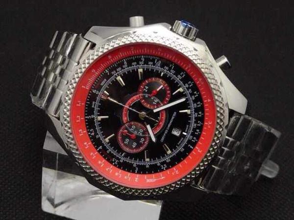 De lujo para hombre rojo Dial Japón cronógrafo deporte muñeca Supersports ISR relojes para hombres FLYING B Motors super gran reloj de acero