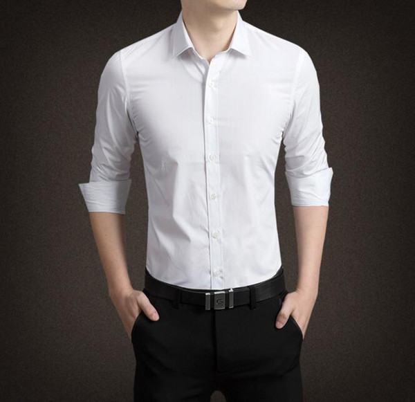 Wholesales 2018 Newest Long Sleeves Groom Shirts Polo Men s Shirt White  Business Slim overalls wear Wedding c123bd0f680