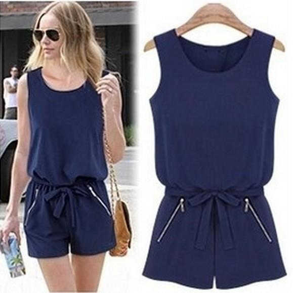 Navy Women Jumpsuit Shorts Sexy Back Open Overalls Bodysuit Women Plus Size Rompers Womens Jumpsuit Macacao With Zipper Pockets