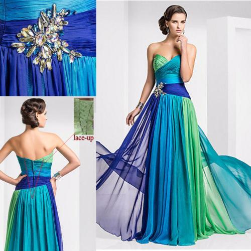 Abiti da sera lunghi economici colorati in chiffon Multi colore Crystal Pleat Lace Up Sweetheart 2015 Prom Dress abiti da festa
