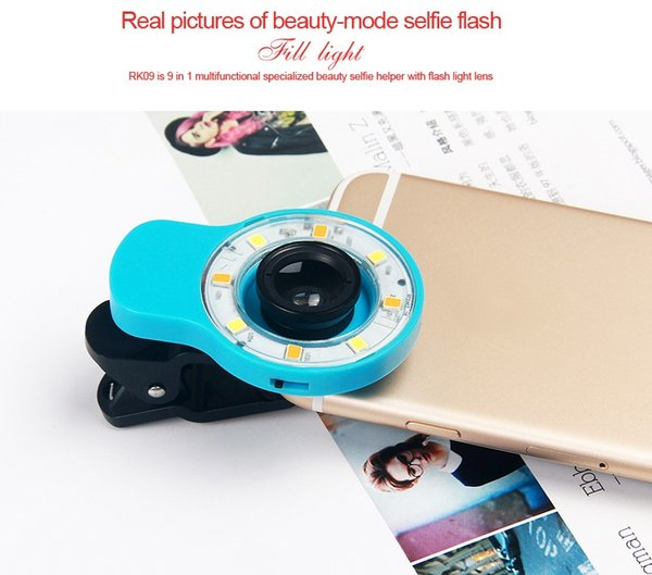 Free DHL hot sale RK09 Night Using Beauty Selfie Sycn Special Effect Phone LED Light Blue w/ Micro Fisheye Wide Lens for Phone Tablet