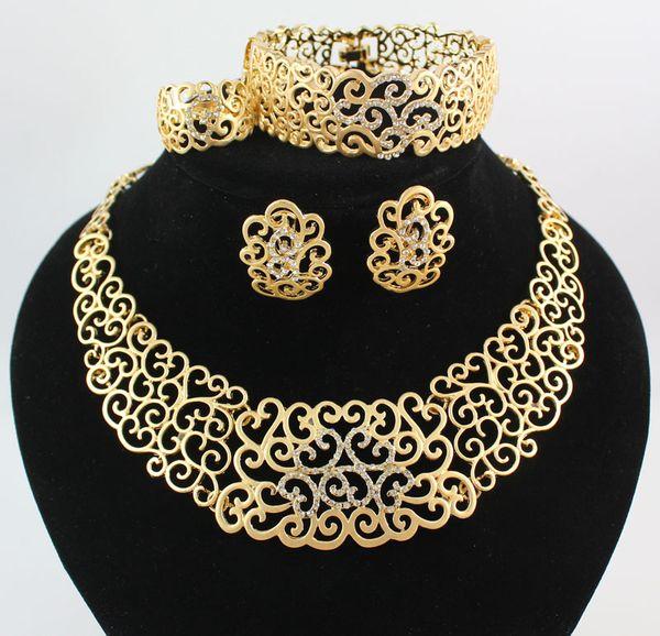 Colar Pulseira Brinco Anéis Conjuntos de Jóias Africano Moda 18 K Banhado A Ouro Flor Rhinestone Wedding Party Set