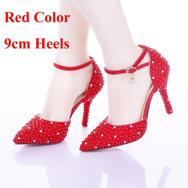 High Heels Stilettos Pointed Toe Wedding Shoes Red Pearl Shoes for Bride Ankle Strap Women Shoes Valentine Party Prom Pumps