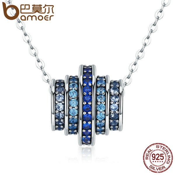 Bamoer Authentic 100 %925 Sterling Silver Gradual Change Round Wheel Blue Melody Pendant Necklaces For Women Fine Jewelry Gift