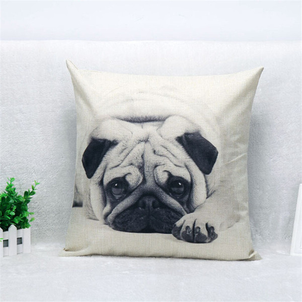 Wholesale- 45x45cm Decorative Pillow Cases Home Pug Dog Cotton Linen Pillow Case Cover Linen Pillowcase Free Shipping EF168
