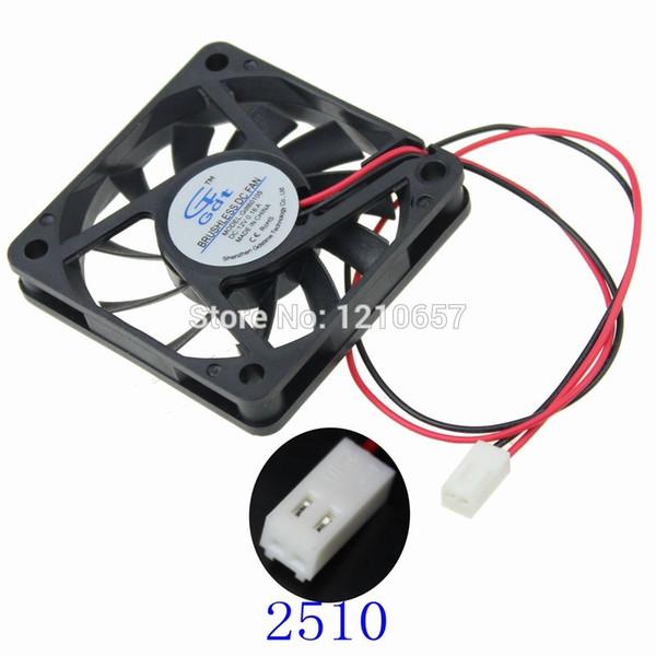 Wholesale- 10 PCS LOT 60mm 60x60x10mm 6CM DC 12V 2Pin 2510 Connector Cooling Heatsink Radiator Fan