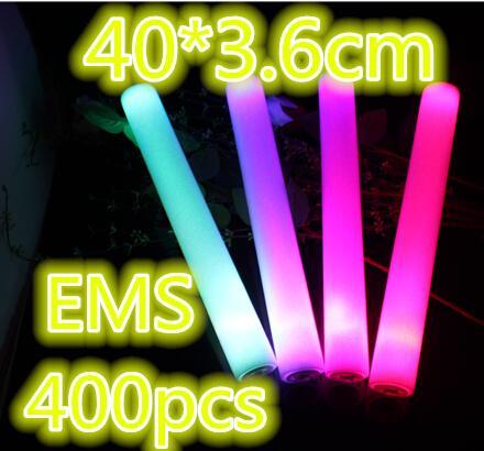 Ücretsiz nakliye 400pcs / lot 3.6 * 40cm Katı Kırmızı Mavi Yeşil Pembe Led Köpük Stick Led Baton Glow Stick For Evlilik Partisi Noel