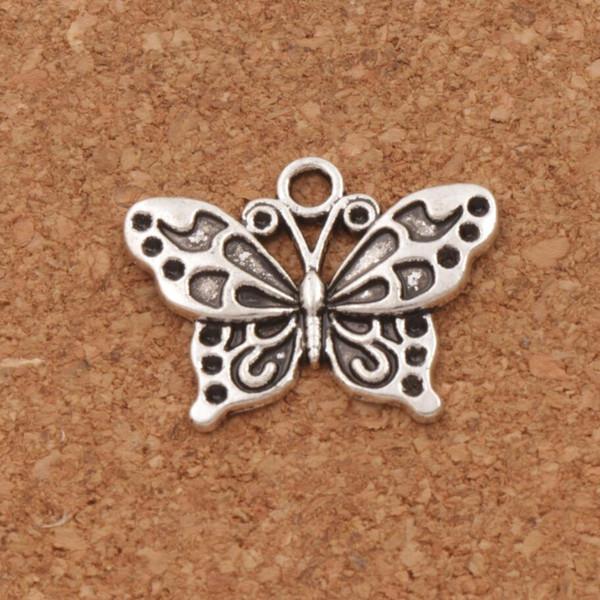 Blanc Peacock Anartia Jatrophoe Butterfly Charm Perles 100pcs / lot 24.8x19.1mm Argent Antique Pendentifs Bijoux DIY L1128