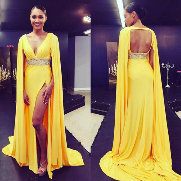 Sexy Deep V Neck Arabic Evening Dress Yellow Chiffon Sleeveless Open Back Cape Design Prom Party Gowns with Beaded Waist High Split