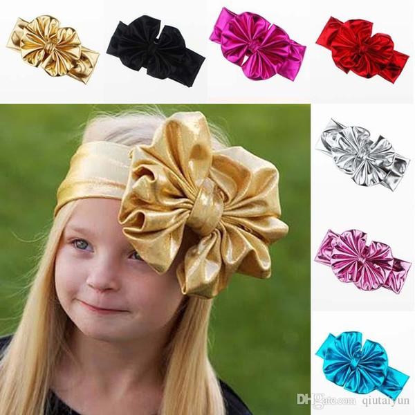 Shiny leather bow headband for children baby girls big elastic metal color head wraps turban bands bandana headband hair accessories B268-5