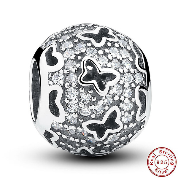 Abstract Micro Pave Silver Charm with Cubic Zirconia and Cut-out Butterflies for Pandora Style Bracelets S212