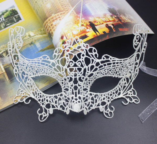 Best quality Cat woman Sexy Lady party Lace solid Mask Halloween Masquerade 3D mask nightclub Black veil TY935