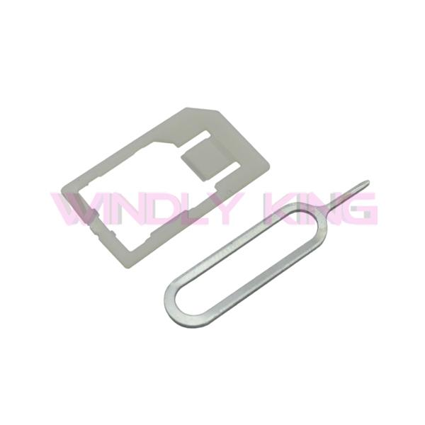 Wholesale-Silver Micro Sim Card Steel Metal Cutter and Nano SIM Cutter citting With 2 SIM Card Adapter