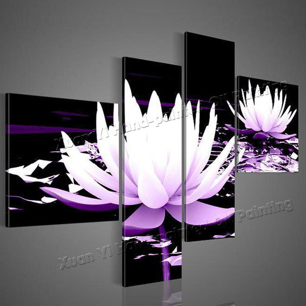 top popular 100% HD Painted 4 Piece Black White Purple Modern Decorative Oil Painting On Canvas Wall Art Flower Picture For Living Room 2019