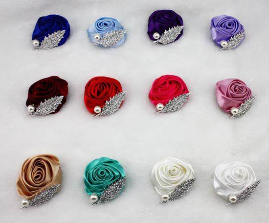 Cheap Crystals Groom Corsages Bridesmaid Flower Brooch Wedding Accessories Pearls Satin Rose Corsage Bridesmaid Corsage 12 Colors Can Choose