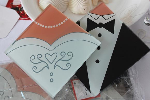 Romantic Style Bride and Tuxedo Groom Glass Coaster Wedding Favors 300 pcs=150Sets 1203#03