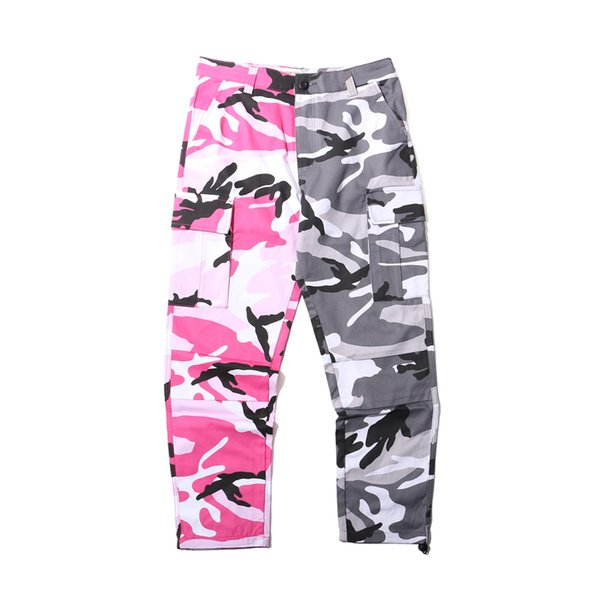 2018 NEW Camo vertical stripes Patchwork Cargo Pants Men's Hip Hop Casual Camouflage Trousers Fashion Joggers Sweatpants 8 Color