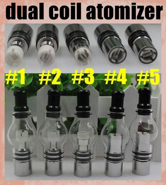 Cilindro duplo da abóbada do tanque de vidro do atomizador do globo da bobina para a erva seca Vaporizador duplo da cera do titânio da cerâmica 2015 a venda direta da forma superior ATB029