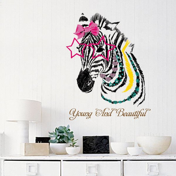 Zebra head wall stickers for kids rooms nursery girl bedroom children decals vinyl home decoration self adhesive fil
