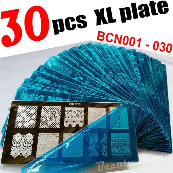 YENI 30 adet XL TAM Tırnak Damgalama Damga Plaka Tam Tasarım Görüntü Disk Stencil Transferi Polonya Baskı Şablonu BCN01 - BCN30