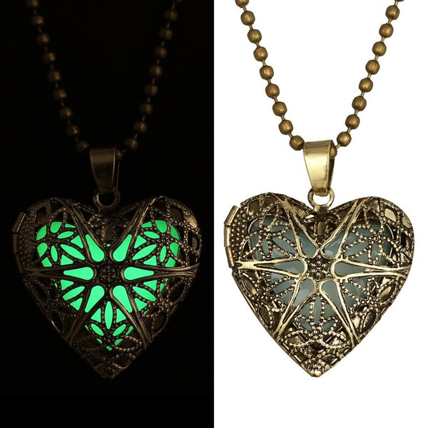 Fluorite Glow Pendant Necklace 2015 High Quality Necklaces for Women Vintage Hollow Opening Heart Light Glow Pendant Necklace N06