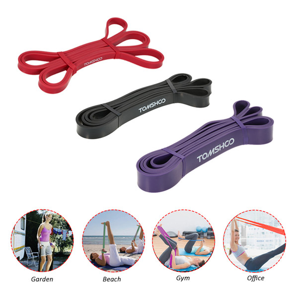 Tomshoo 3pcs /Set Fitness Resistance Bands Rubber Pull Up Bands Gym Strength Training Equipment 208cm Power Latex Band Loop Strap
