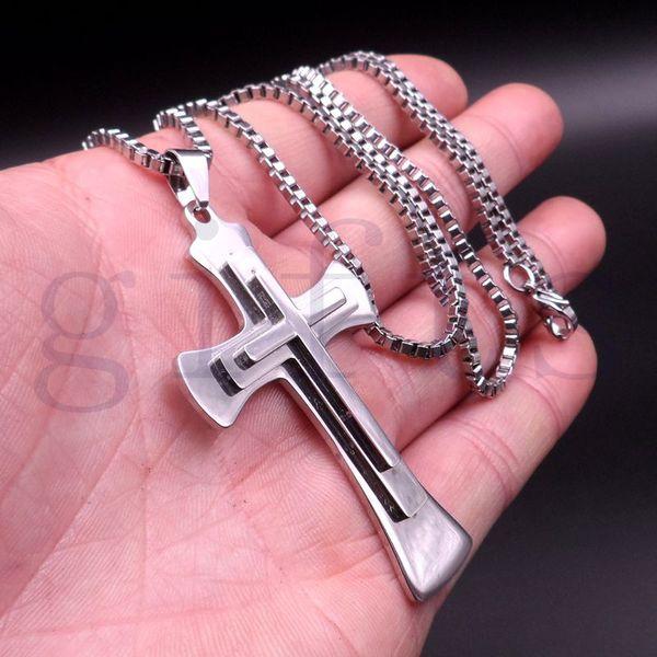 Pingente de cruz de prata legal dos homens de aço inoxidável com caixa de 30 polegadas colar de corrente navio livre