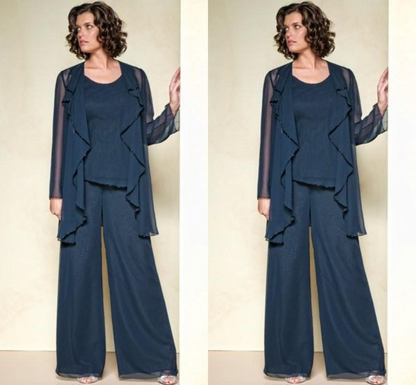 Chiffon Mother Of The Bride Pant Suits 2015 Summer Long Sleeve Custom Made Plus Size Mother Pant Suits