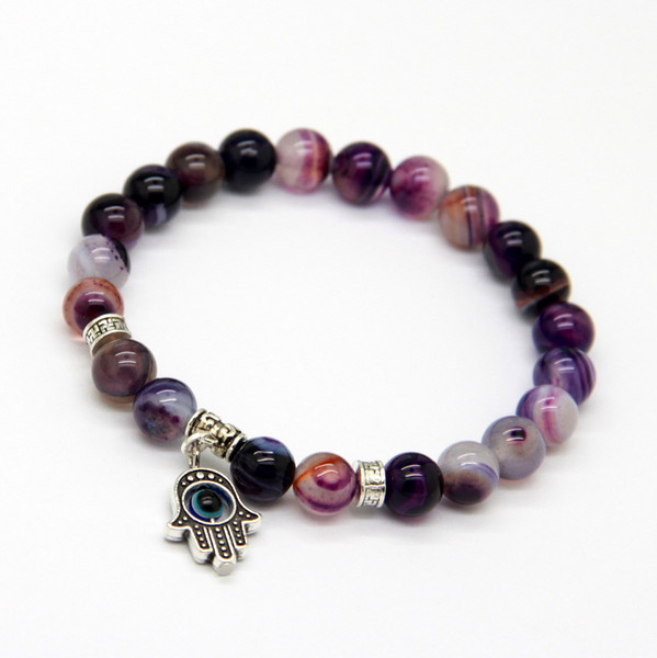 New Arrival Jewelry Wholesale 8mm Beaded Natural Purple Agate Stone Beads Hamsa Hand Yoga Braclets, Best Gift for men and women