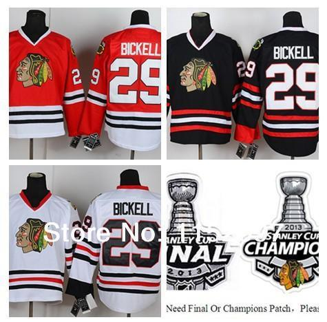 Wholesale Chicago Blackhawks Bryan Bickell Jersey #29 Finals Champions Ice Hockey Jerseys Bickell Home Road Red White Black