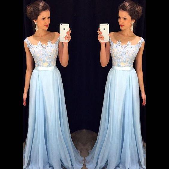 Prom Dresses Long Sheer Neckline Light Sky Blue Chiffon Appliques Lace A-line Evening Gowns Fancy For Special Occasions