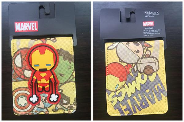 Cute Marvel Anime Wallet The Avengers Superhero Wallet DC Bifold Card Bag Cartoon IRON MAN / HULK / BAT MAN Wallet For Students