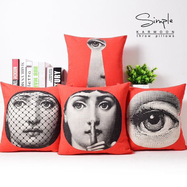 European Vintage Style Fornasetti Face Mask Art Cushions Pillows Covers Decorative Sofa Seat Chair Pillow Case Linen Cotton Cushion Cover