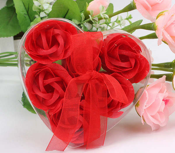 top popular (6pcs=one box )High Quality Mix Colors Heart-Shaped Rose Soap Flower For Romantic Bath Soap Valentine's Gift 2021
