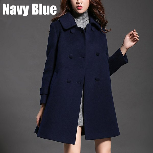 b060257438 Plus Size Womens Wool Blends Clothing Warm Winter Wool Coat for Female  Thick Outerwear 2017 New