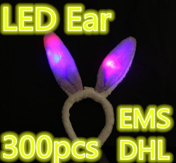 Orecchie di coniglio luminose Orecchie di coniglio della peluche delle orecchie di coniglio della peluche di 300pcs / lot LED LED Giocattoli di Natale