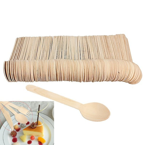 100Pcs/lot Disposable Mini Wooden Spoon Ice Cream Spoons Wedding Party Banquets Crafting Cultery Eco-friendly Kitchen Utensils