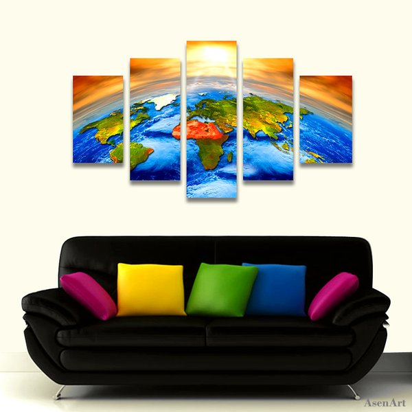 5 Piece Canvas Art Sun Outer Space Earth World Map Painting Picture for Living Room Wall Art Canvas Prints Artwork Framed Dropshipping