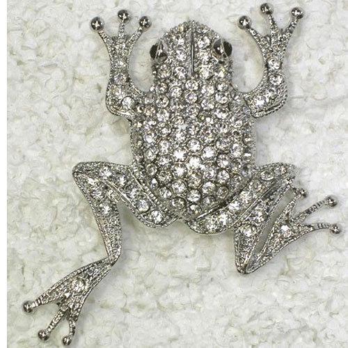 En gros 12 pièces / lot Cristal Clair Strass Grenouille Costume De Mode Broche Broche C239 A