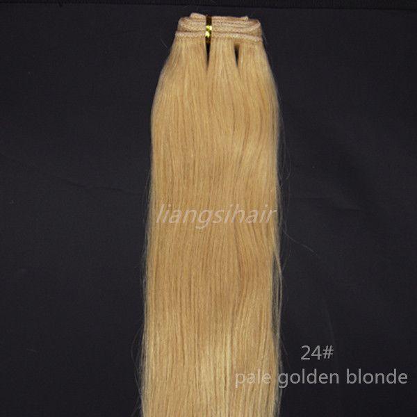 "Brazilian Hair Extensions 100g 1pcs 16""-26"" 24# Pale Golden Blonde Brazilian Indian Malaysian Peruvian Human Hair Weave Straight Hair Weft"