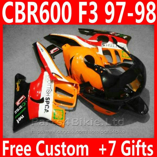 New bodywork for Honda CBR 600 F3 orange fairing kit 1997 1998 CBR600F3 fairings CBR600 F3 95 96 DKVD