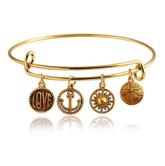 New Vintage LOVE Heart Bangle Fashion 2015 High Quality Fatima Pale Statement Charm Bracelets Women Jewlery
