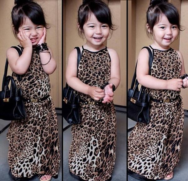 Sommerkleidmädchen des Strandes 2015 sleeveless Sommer des Mädchens sleeveless Leopard des Mädchens lang kleidet freies Verschiffen des Elternteilkindkleides
