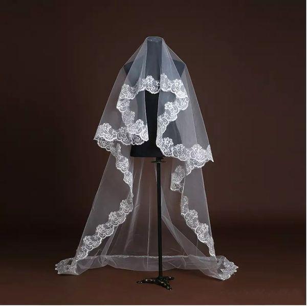 Hot Sale Cheap Tulle White Bridal Veils Fingertip Length One Layer Applique Edge Wedding Dress Accessories