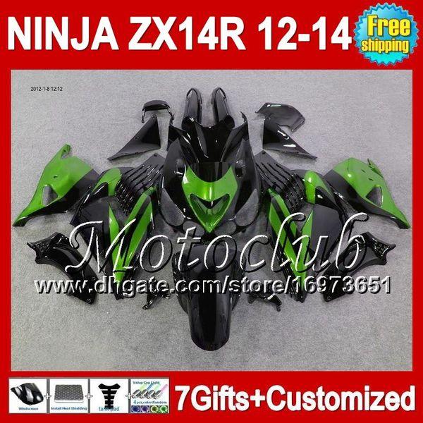 7gifts Für KAWASAKI NINJA ZX14R 12-13 ZX-14R 25C9 ZX 14R grün schwarz 12 13 12 13 ZX14 R 2012 2013 2012 2013 ZX 14 R Verkleidung Grün schwarz