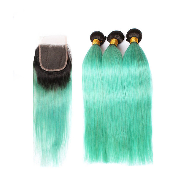 Green Ombre Hair Bundles With Lace Closure Two Tone 1b Green Straight Closure With Bundles Peruvian Virgin Hair Extensions 4Pcs/Lot
